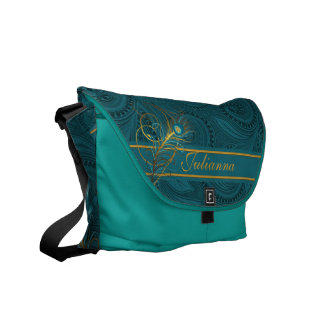 Teal Peacock Feather with Custom Name Commuter Bag