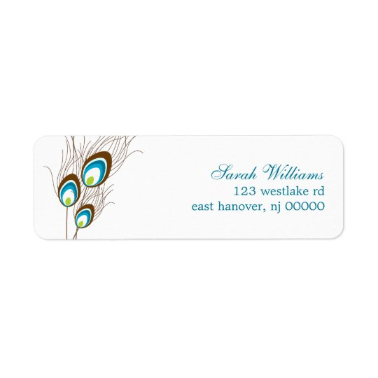 Teal Peacock Feathers Return Address Label