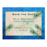Teal Peacock Feathers Save the Date Wedding pos