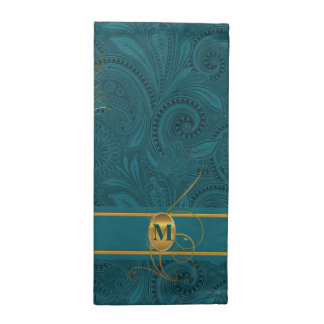 Teal Peacock Monogrammed Dinner Table Napkin