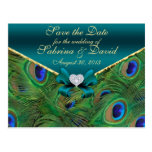 Teal Peacock Save the Date Postcard