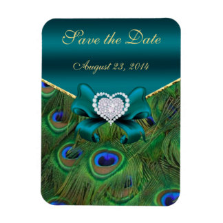 Teal Peacock Save the Date Rectangular Photo Magnet