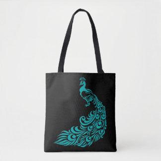 Teal Peacock Silhouette Black Tote Bag