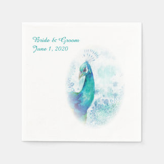 Teal Peacock Watercolor Wedding Napkins Standard Cocktail Napkin
