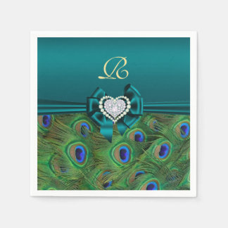 Teal Peacock Wedding Paper Party Napkins Disposable Napkin