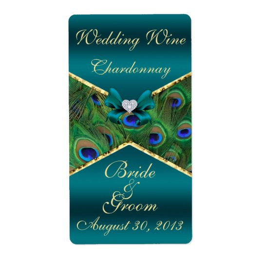 Teal Peacock  Wedding Wine Label