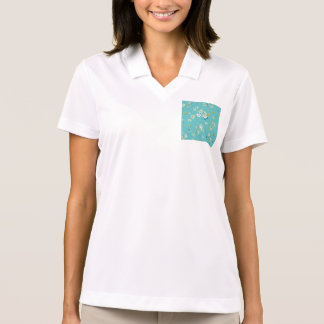 teal,peacock,white cherry,blossom,pattern,trendy, polo t-shirt