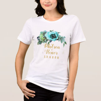 Teal Peony Swag Matron of Honor Name ID456 T-Shirt