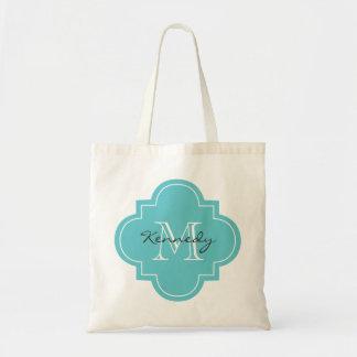 Teal Personalised Monogram Budget Tote Bag