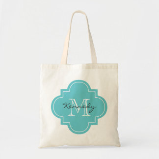 Teal Personalized Monogram Tote Bags