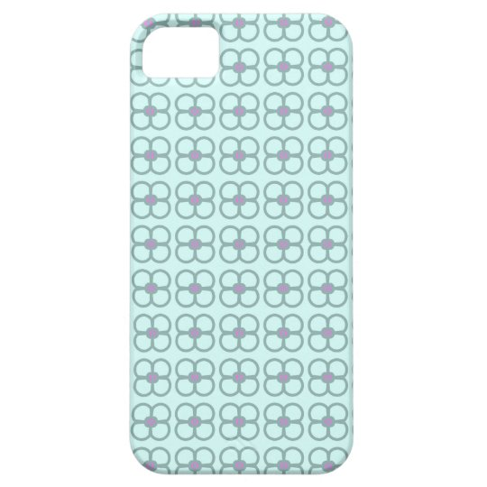 Teal phone case with retro grey and pink