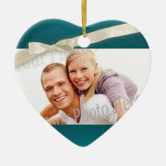 Teal Photo Heart with Bow Ceramic Heart Decoration