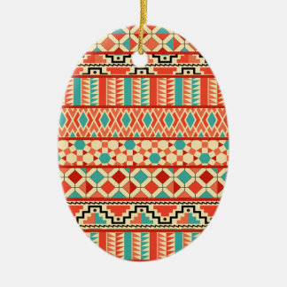 Teal Pink Abstract Geo Aztec Tribal Print Pattern Christmas Ornament