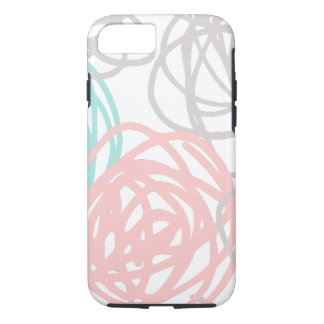 Teal Pink and Gray Doodles Pattern iPhone 8/7 Case