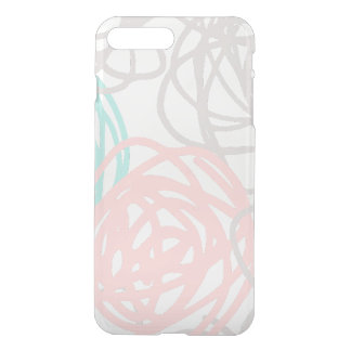 Teal Pink and Gray Doodles Pattern iPhone 8 Plus/7 Plus Case
