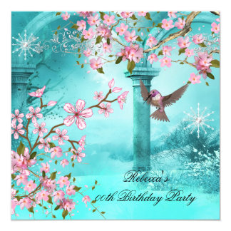 Teal Pink Asian Blossom Birthday Party Bird Card