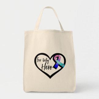 Teal Pink Blue Awareness Ribbon For My Hero Grocery Tote Bag