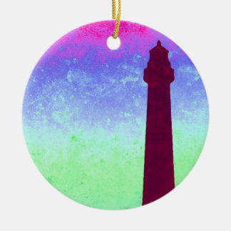 Teal Pink Blue Lighthouse Sky Digital Art Christmas Ornament