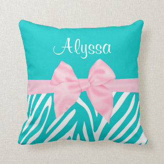 Teal Pink Bow Zebra Personalized Cushion