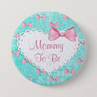 Teal Pink Bows Mummy to be Baby Shower button