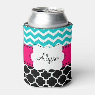 Teal Pink Chevron Quatrefoil Personalized Can Cooler
