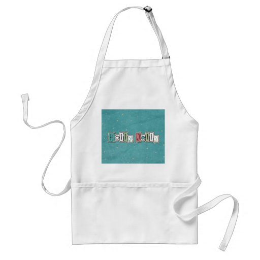 Teal Pink Holly jolly Christmas Chic Aprons