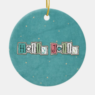 Teal Pink Holly jolly Christmas Chic Christmas Ornament