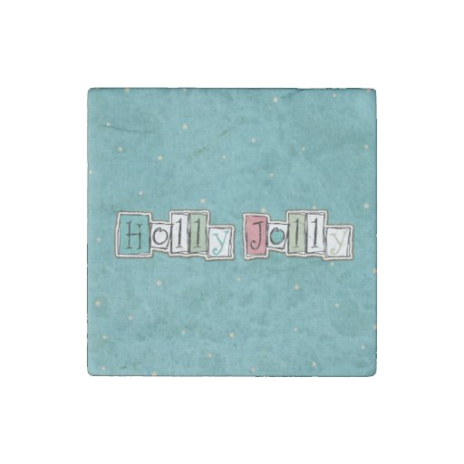 Teal Pink Holly jolly Christmas Chic Stone Magnet