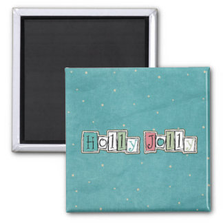 Teal Pink Holly jolly Christmas Chic Magnet