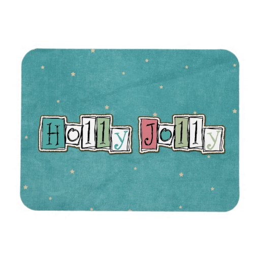Teal Pink Holly jolly Christmas Chic Vinyl Magnet