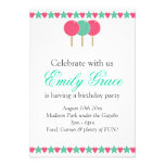 Teal & Pink Lollipops & Wishes Party Invite
