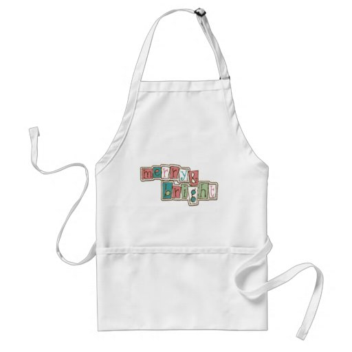 Teal Pink Merry and Bright Christmas Apron