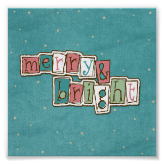 Teal Pink Merry and Bright Christmas Print