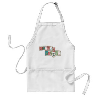 Teal Pink Merry and Bright Christmas Standard Apron