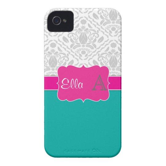 Teal & Pink monogrammed damask iPhone 4/4s case