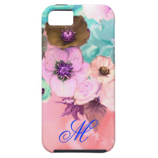 TEAL PINK ROSES AND ANEMONE FLOWERS MONOGRAM CASE FOR THE iPhone 5