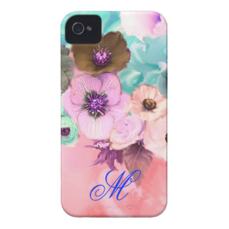 TEAL PINK ROSES AND ANEMONE FLOWERS MONOGRAM Case-Mate iPhone 4 CASE