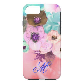 TEAL PINK ROSES AND ANEMONE FLOWERS MONOGRAM iPhone 7 CASE