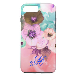 TEAL PINK ROSES AND ANEMONE FLOWERS MONOGRAM iPhone 7 PLUS CASE