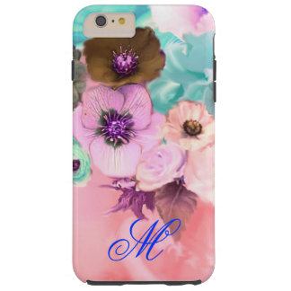 TEAL PINK ROSES AND ANEMONE FLOWERS MONOGRAM TOUGH iPhone 6 PLUS CASE
