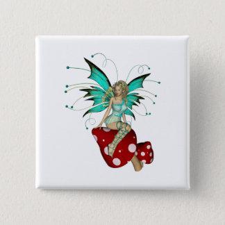 Teal Pixie & Mushrooms 3D 15 Cm Square Badge