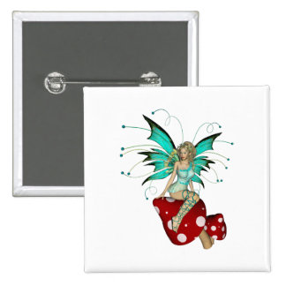 Teal Pixie & Mushrooms 3D 15 Cm Square Badge