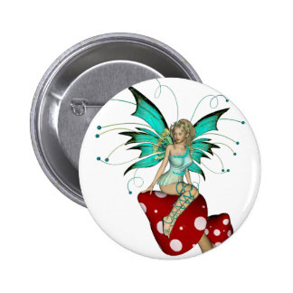 Teal Pixie & Mushrooms 3D 6 Cm Round Badge