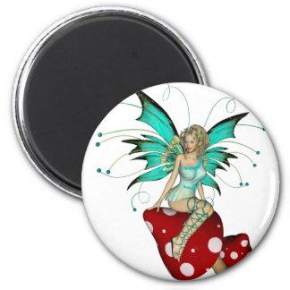 Teal Pixie & Mushrooms 3D Magnet