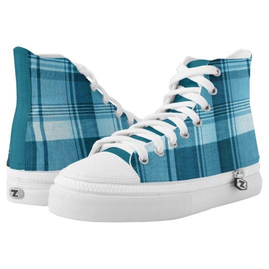 Teal Plaid High Top Sneakers