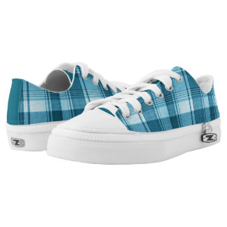 Teal Plaid Low Top Sneakers
