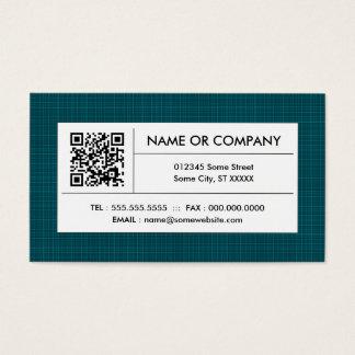 teal plaid QR code Business Card
