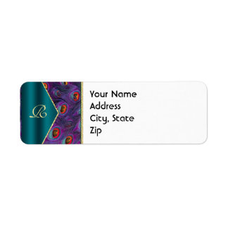 Teal Plum Peacock Address Label