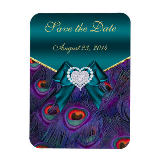 Teal Plum Peacock Save the Date Rectangular Photo Magnet