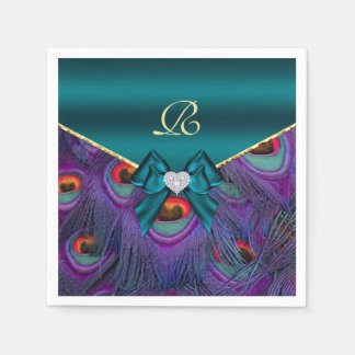 Teal Plum Peacock Wedding Paper Party Napkins Disposable Napkins